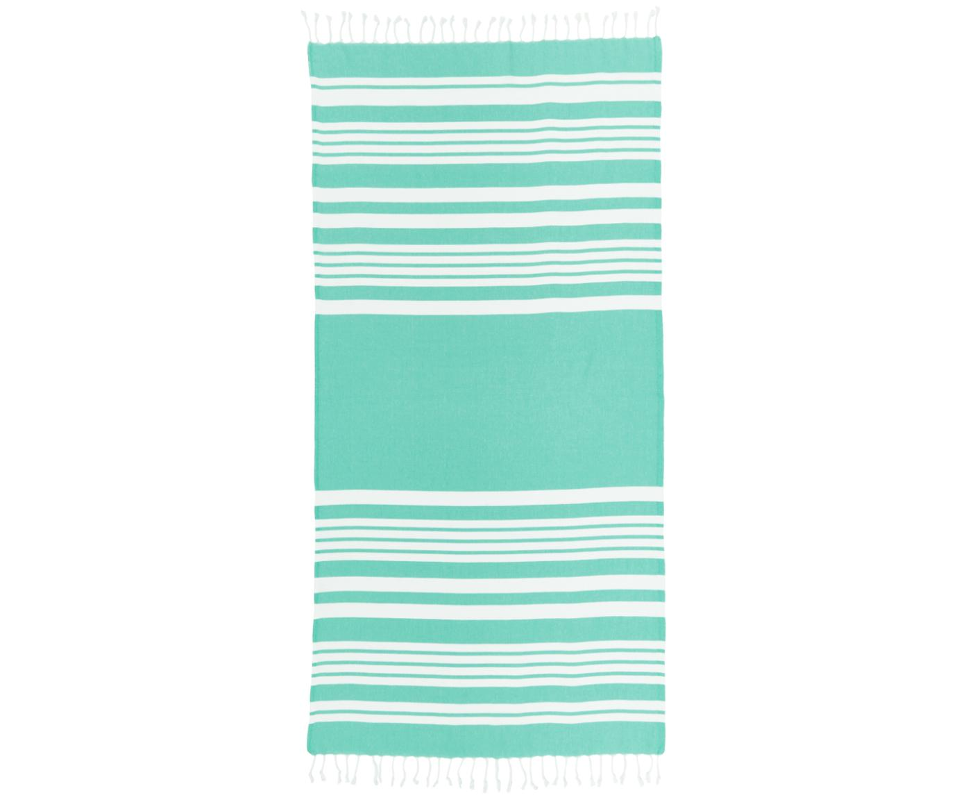 Gestreiftes Hamamtuch Stripy mit Fransenabschluss, 100% Baumwolle Sehr leichte Qualität, 185 g/m², Türkis, Weiß, 95 x 175 cm