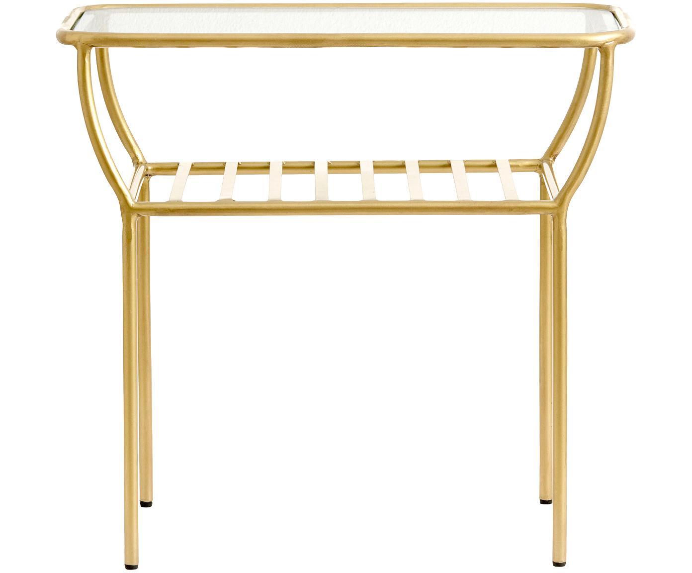 Mesa auxiliar Maeve, tablero de cristal, Tablero: vidrio, Estructura: metal, pintado, Latón, An 50 x Al 45 cm