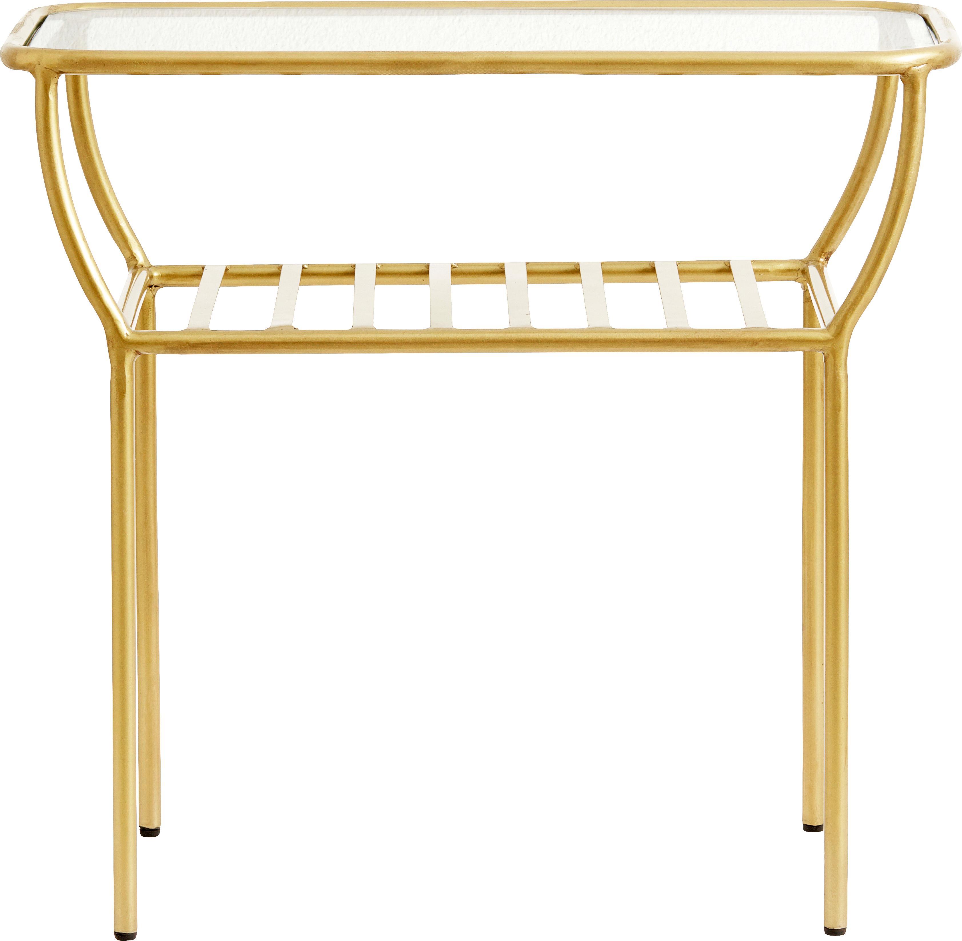 Tavolino con piano in vetro Maeve, Piano d'appoggio: vetro, Struttura: metallo verniciato, Ottonato, Larg. 50 x Alt. 45 cm