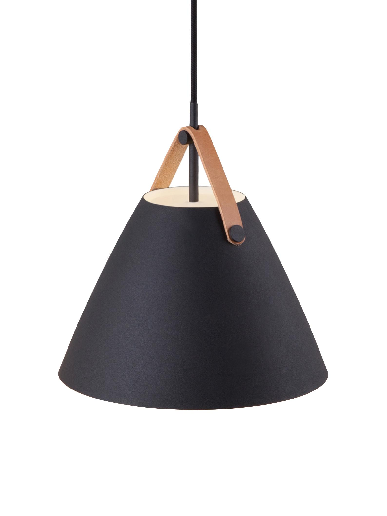 Hanglamp Strap met leren  band, Lampenkap: gepoedercoat metaal, Baldakijn: kunststof, Zwart, Ø 27 x H 25 cm