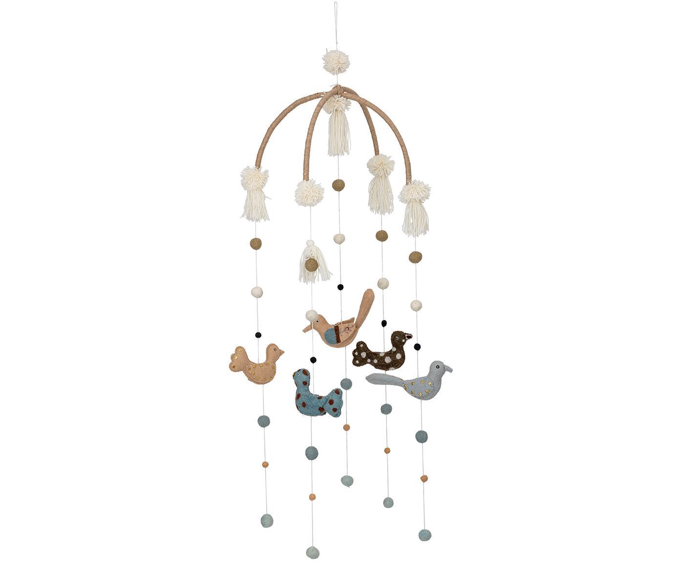 Móvil bebé Birds, Estructura: madera, Tapizado: fieltro de lana, Multicolor, Ø 36 x Al 105 cm