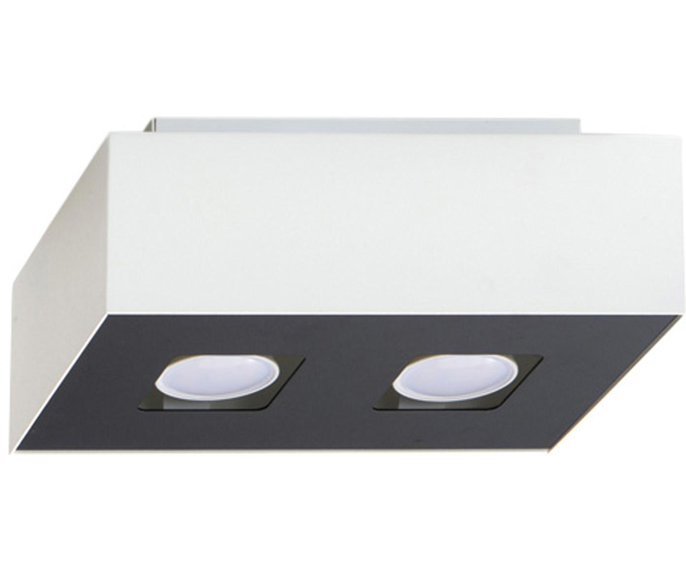 Kleine plafondlamp Hydra, Lampenkap: gecoat staal, Baldakijn: gecoat staal, Wit, zwart, 24 x 11 cm