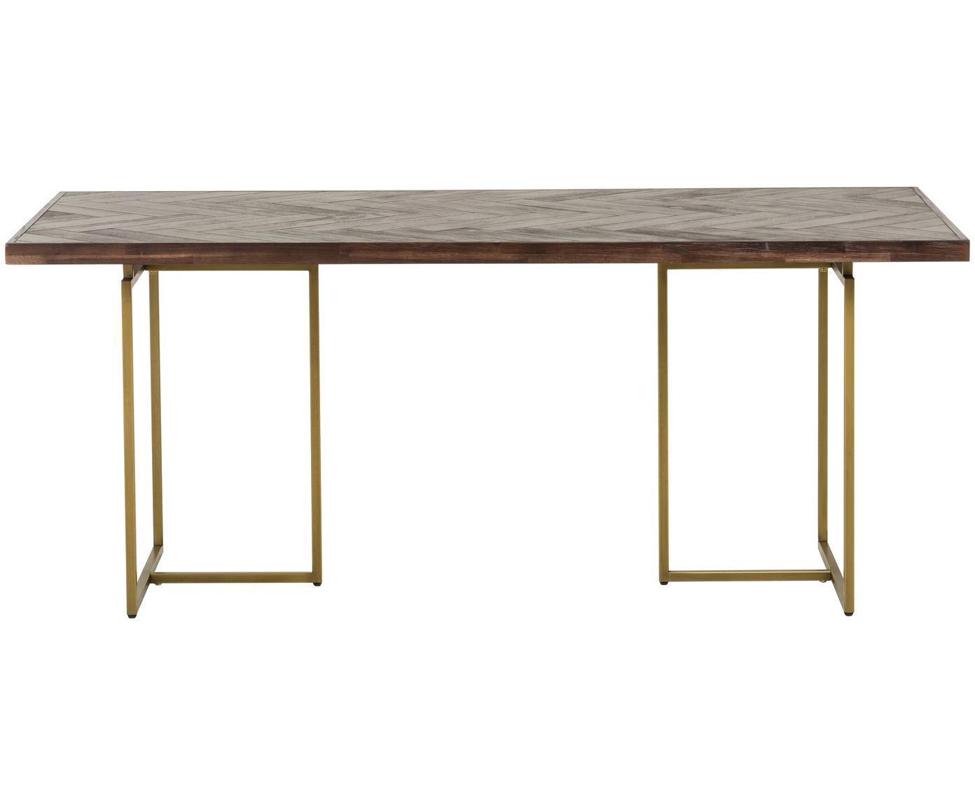 Stół do jadalni w jodełkę Class, Nogi: metal malowany proszkowo, Brązowy, S 220 x G 90 cm