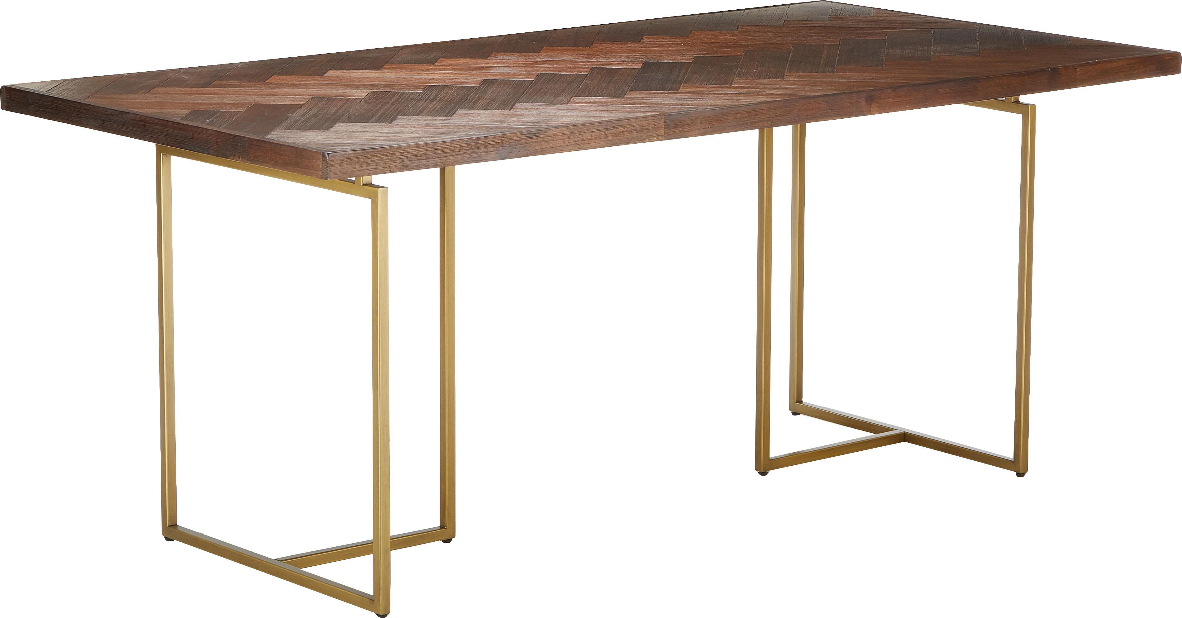 Stół do jadalni w jodełkę z drewna akacjowego Class, Blat: płyta pilśniowa o średnie, Nogi: metal malowany proszkowo, Brązowy, S 180 x G 90 cm