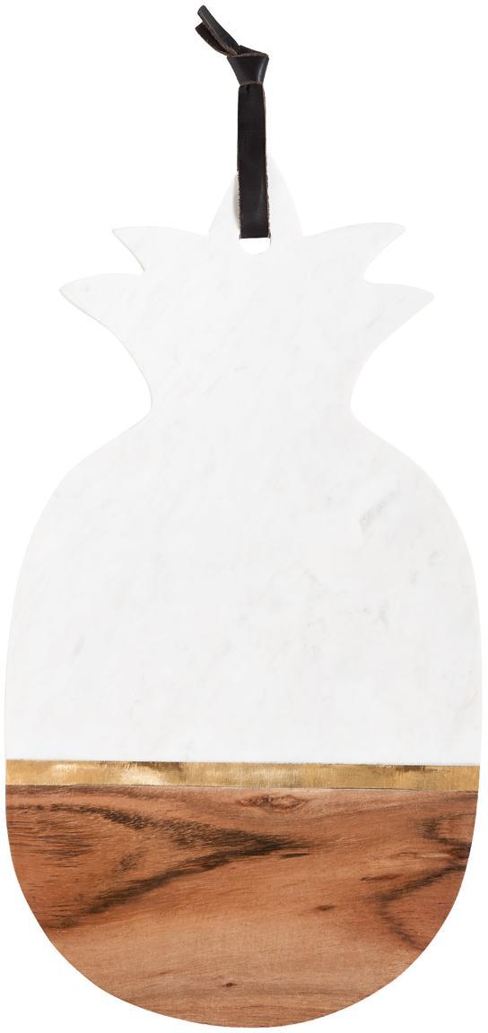 Tabla de cortar de mármol Luxory Kitchen, Mármol, madera de acacia, latón, Blanco, acacia, latón, An 40 x Al 20 cm