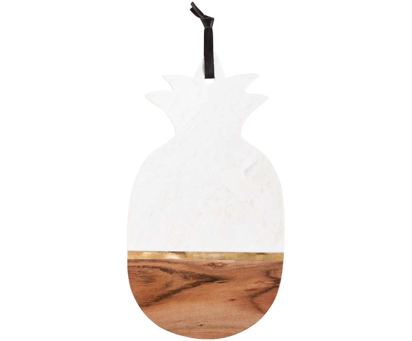 Marmor-Schneidebrett Luxory Kitchen, Marmor, Akazienholz, Messing, Weiß, Akazienholz, Messing, 20 x 40 cm