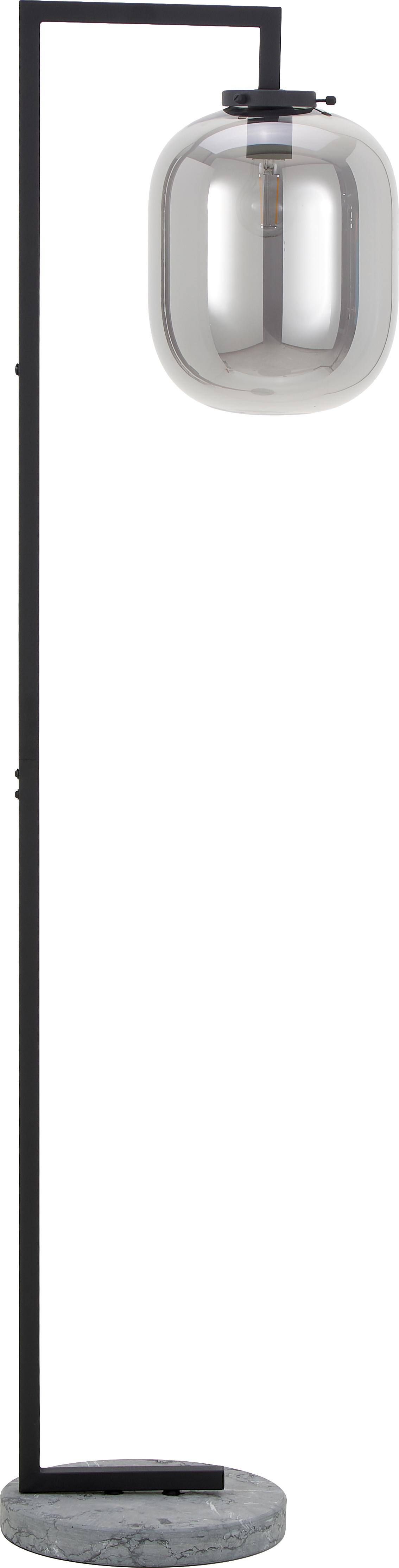 Vloerlamp Leola met marmeren voet, Lampenkap: verchroomd glas, Frame: gelakt metaal, Lampvoet: marmer, Chroomkleurig, zwart, Ø 38 x H 150 cm