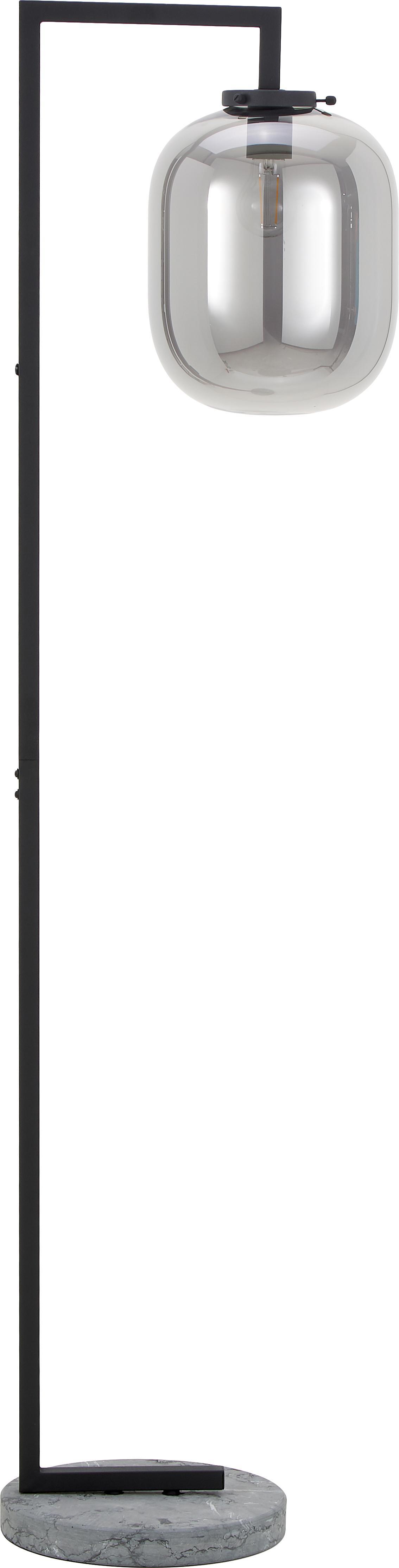 Vloerlamp Leola van glas, Lampenkap: glas, Lampvoet: marmer, Chroomkleurig, zwart, Ø 12 x H 165 cm