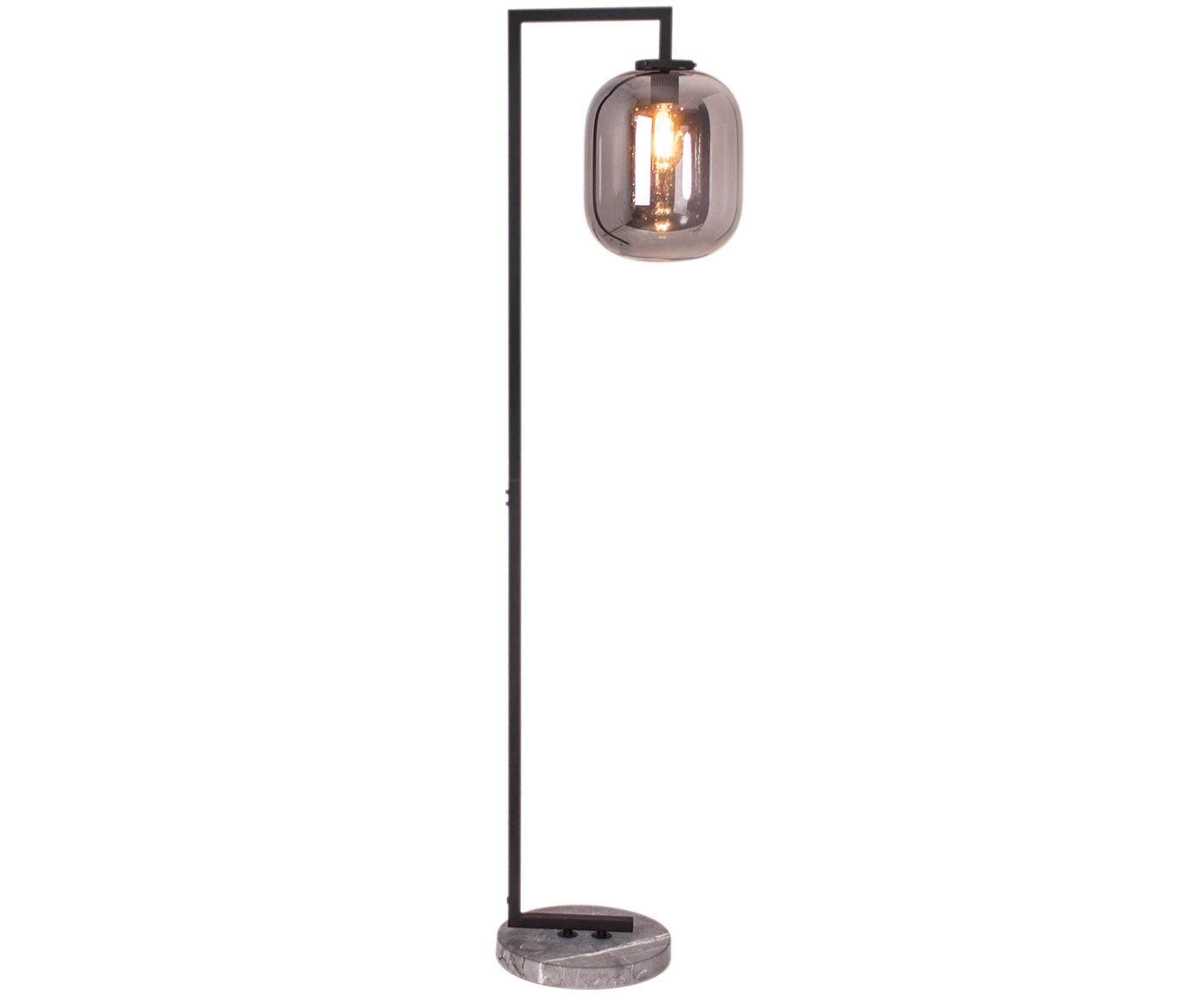 Lampada da terra in vetro Leola, Paralume: vetro, Base della lampada: marmo, Cromato, nero, Ø 12 x Alt. 150 cm