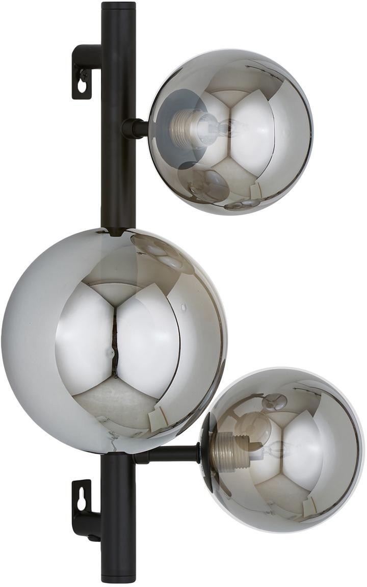 Applique con spina Molekyl, Paralume: vetro, Nero, grigio, Larg. 28 x Alt. 36 cm