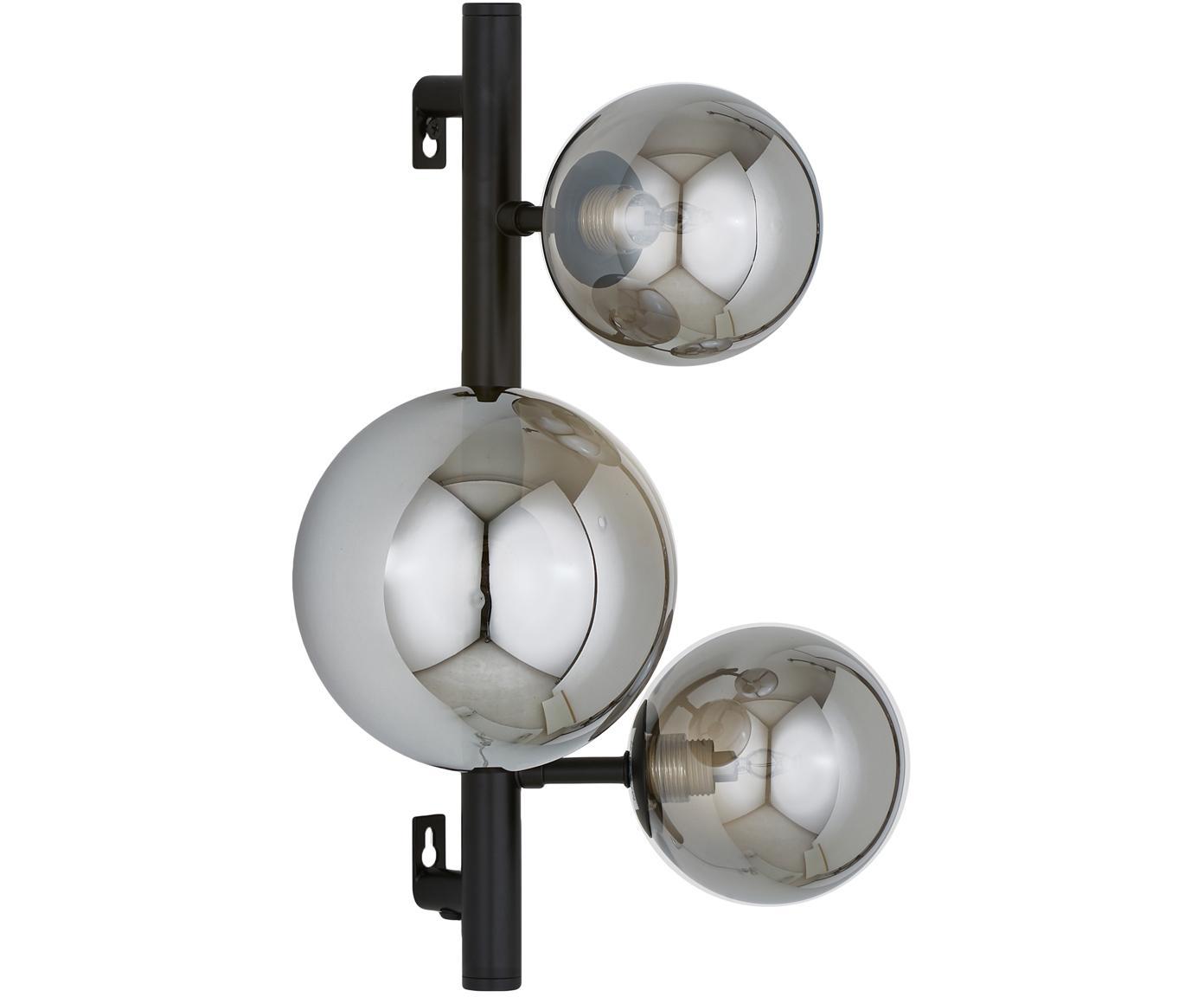 Wandlamp Molekyl met stekker, Zwart, grijs, 28 x 36 cm