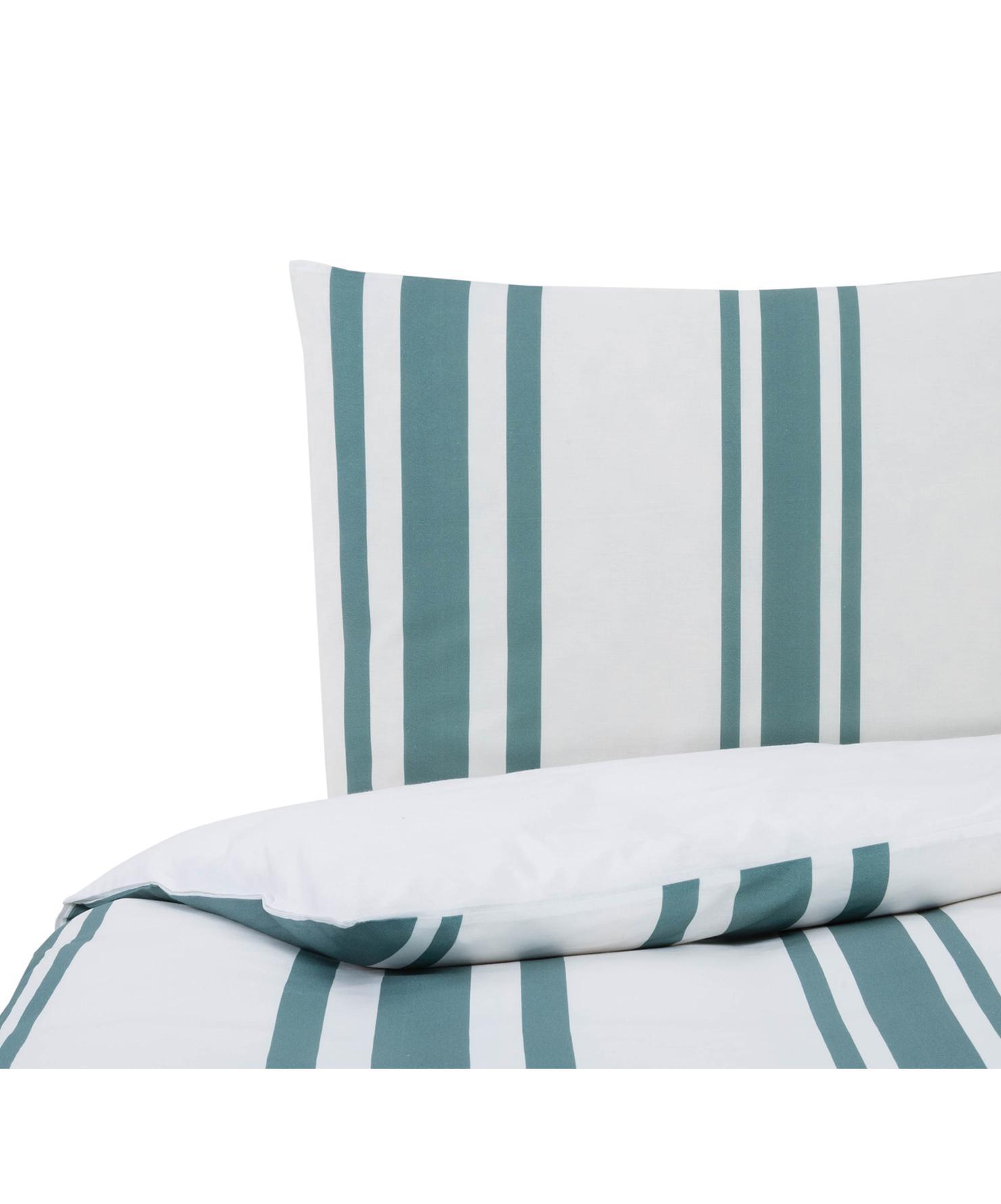 Dubbelzijdig dekbedovertrek Queque, Katoen, Bovenzijde: turquoise, wit. Onderzijde: wit, 140 x 200 cm