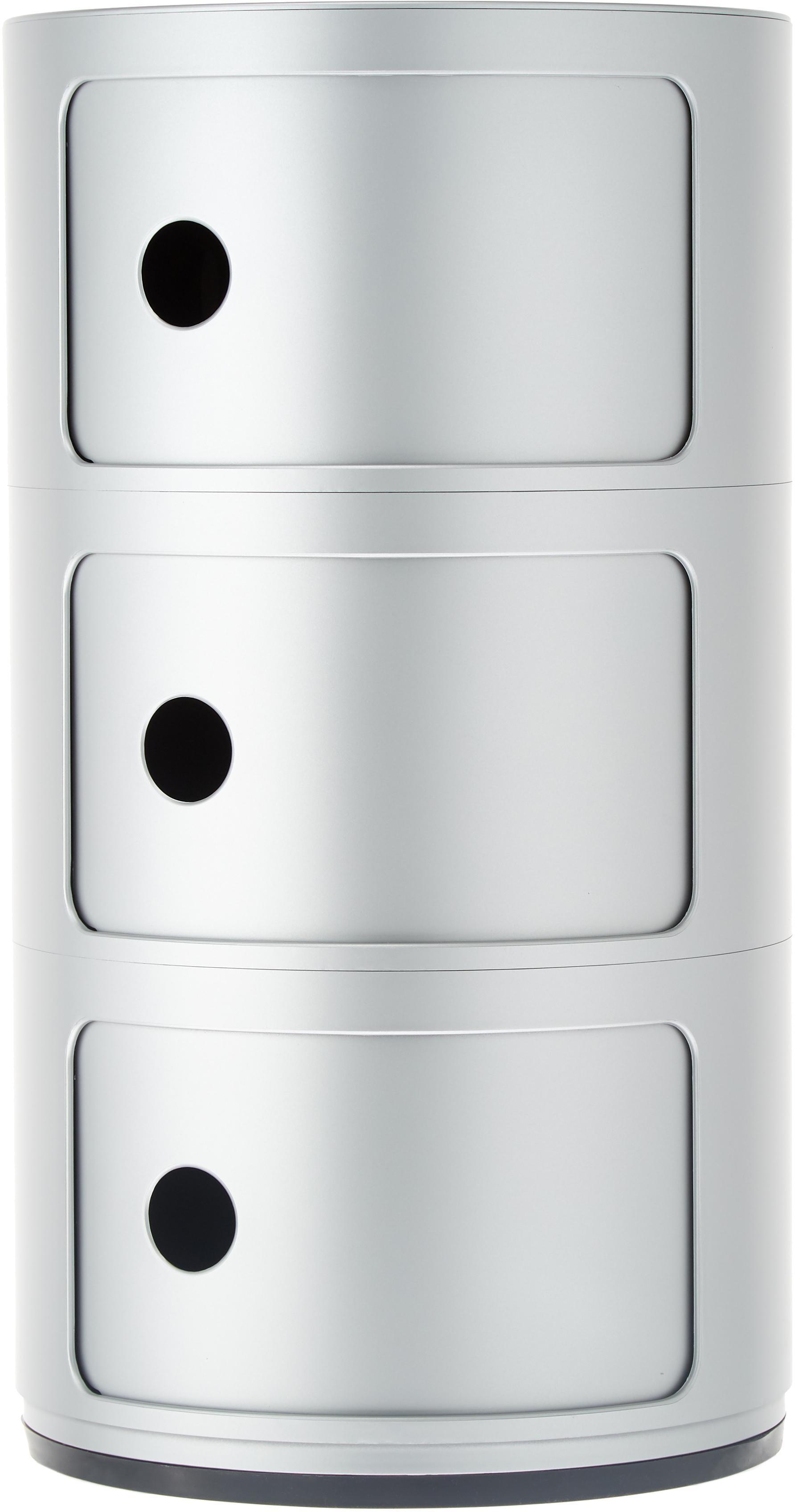 Mesa auxiliar de diseño Componibile, Plástico, Plateado, Ø 32 x Al 59 cm