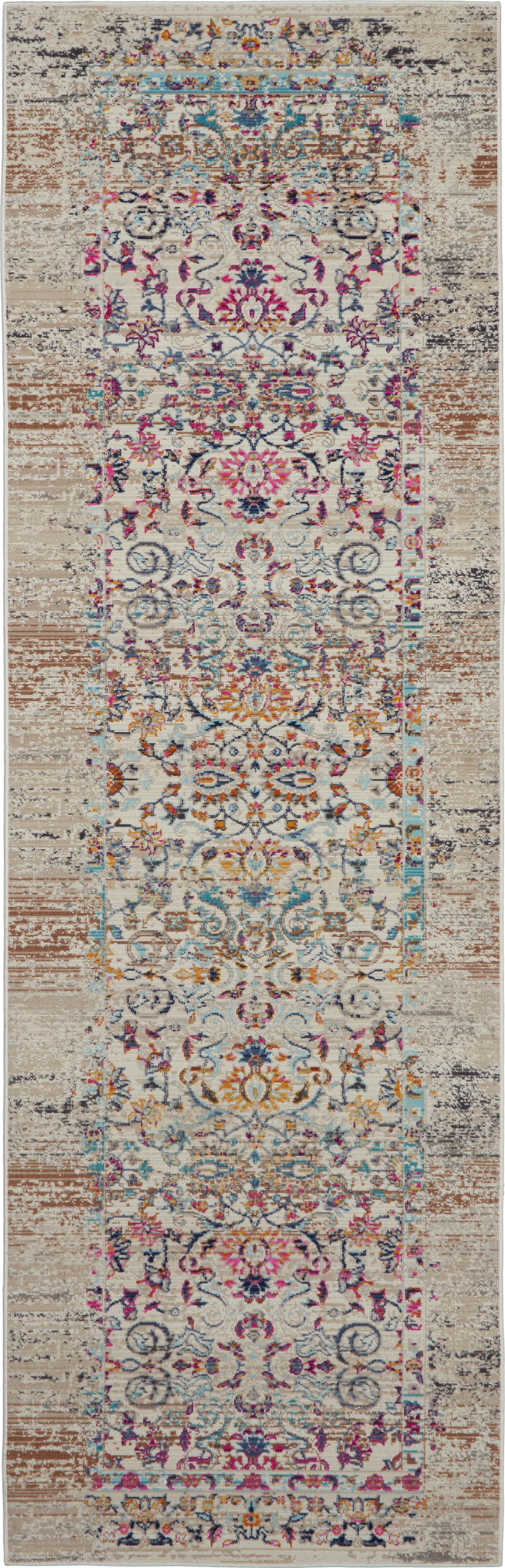 Niederflor-Läufer Kashan mit bunten Ornamenten, Flor: 100% Polypropylen, Beige, Mehrfarbig, 70 x 245 cm
