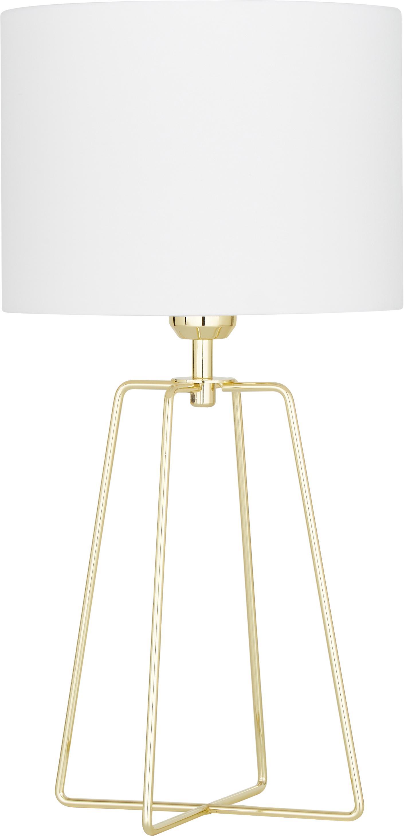 Tischlampe Karolina mit goldenem Lampenfuß, Lampenschirm: Textil, Lampenfuß: Metall, vermessingt, Weiß, Gold, Ø 25 x H 49 cm