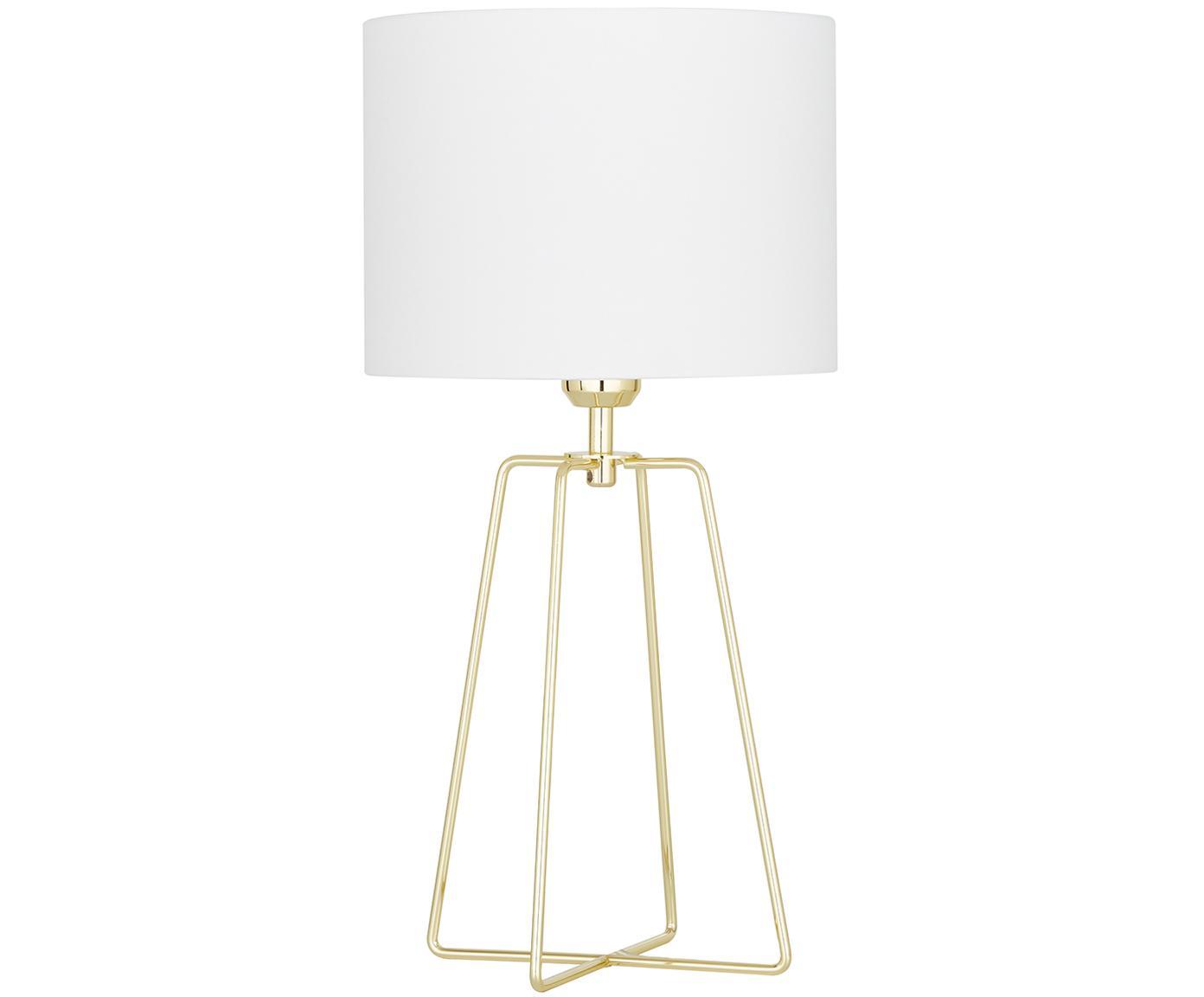 Samt-Tischlampe Karolina mit goldenem Lampenfuß, Lampenschirm: Samt, Lampenfuß: Metall, vermessingt, Weiß, Gold, Ø 25 x H 49 cm