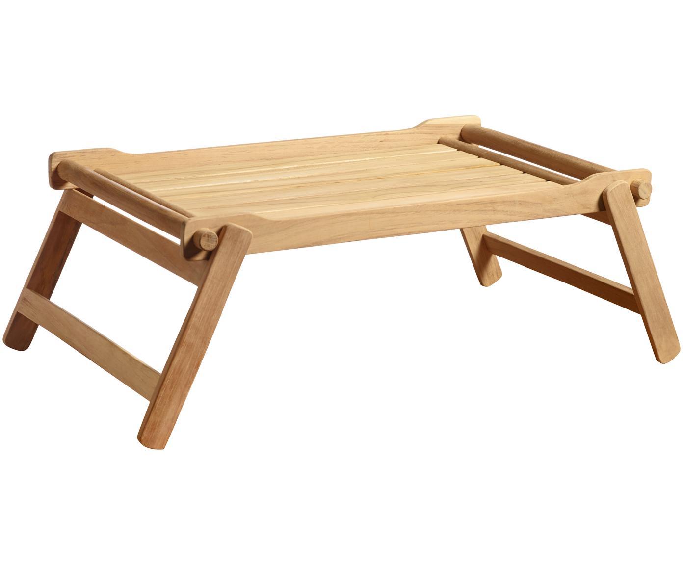 Klappbares Holz-Serviertablett Bed, Teakholz, geschliffen, Teak, B 58 x T 36 cm