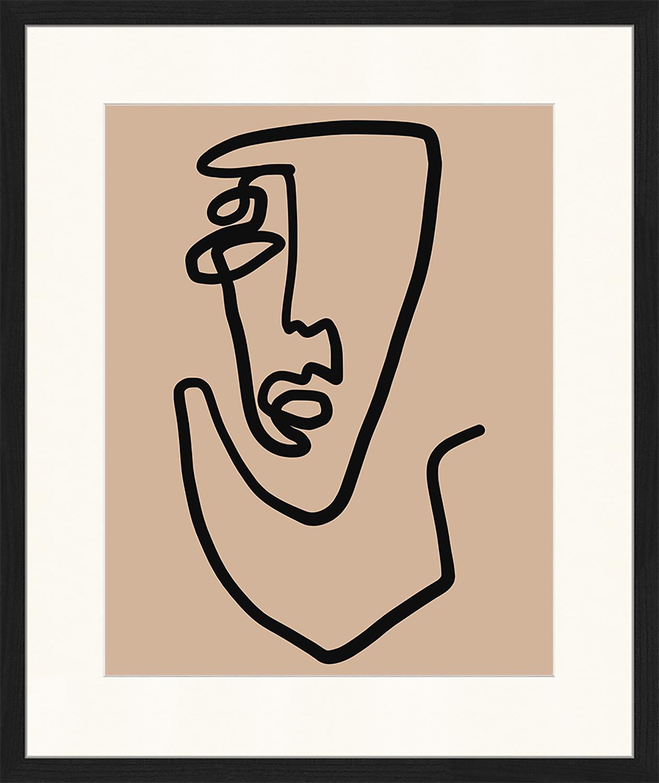 Stampa digitale incorniciata Abstract Face, Immagine: stampa digitale su carta,, Cornice: legno, verniciato, Nero, beige scuro, Larg. 53 x Alt. 63 cm
