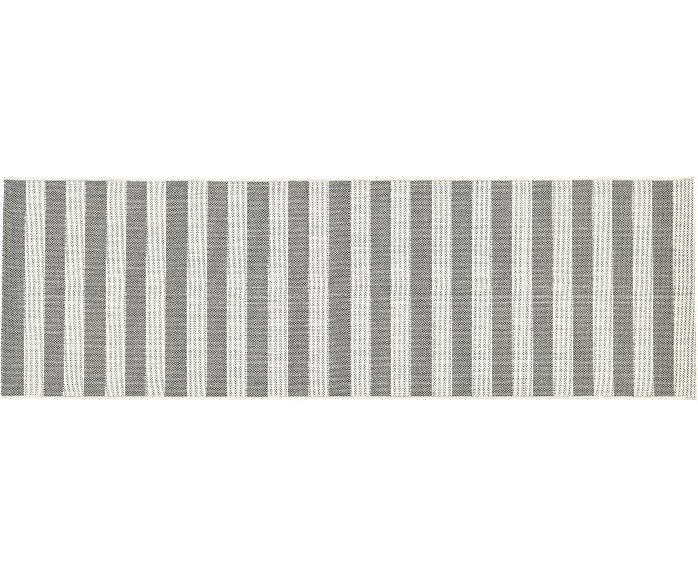 Alfombra de interior/exterior Axa, Parte superior: polipropileno, Reverso: poliéster, Blanco, gris, An 80 x L 250 cm
