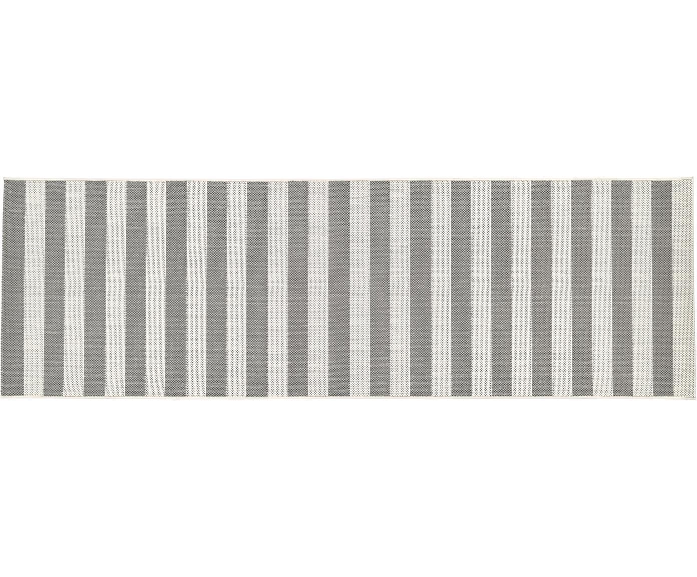 Gestreepte in- & outdoor loper Axa, Bovenzijde: polypropyleen, Onderzijde: polyester, Crèmewit, grijs, 80 x 250 cm
