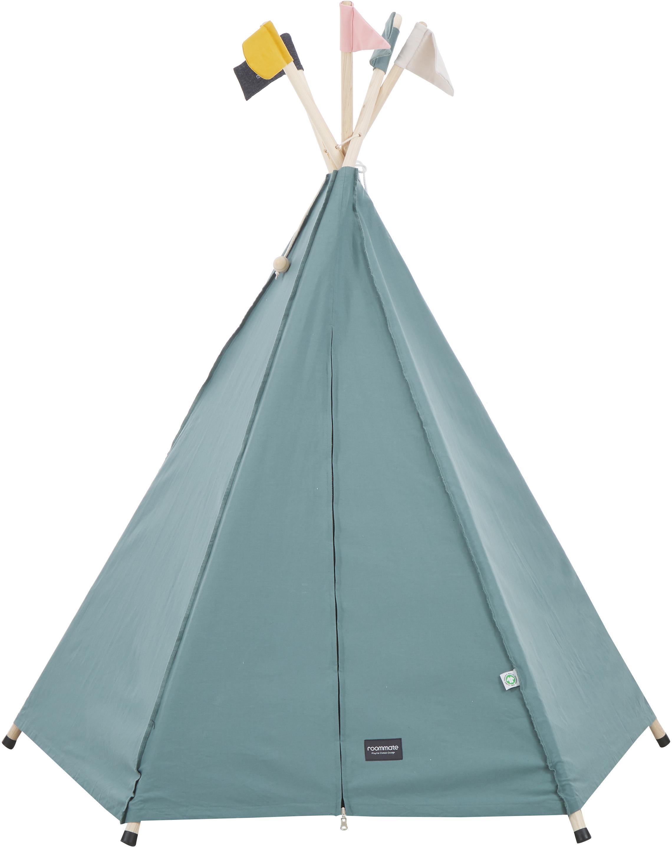Tenda indiana teepee in cotone organico Hippie, Cotone organico, certificato GOTS, Grigio, Larg. 135 x Alt. 135 cm