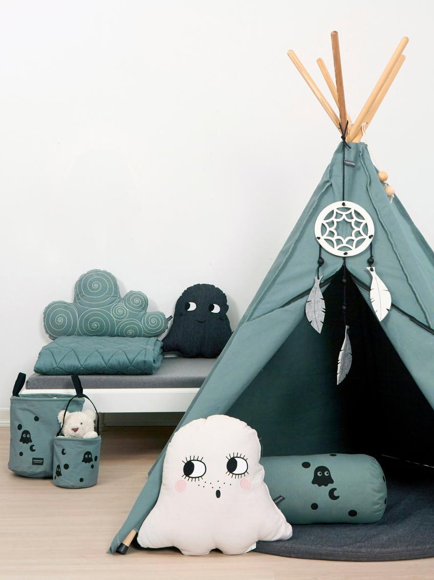 Kinder-Tipi Hippie aus Bio-Baumwolle, Bio-Baumwolle, GOTS-zertifiziert, Grau, 135 x 135 cm