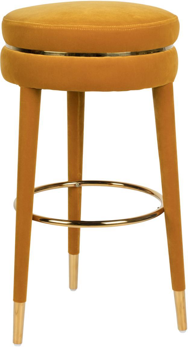 Taburete de bar de terciopelo I Am Not A Macaron, Tapizado: terciopelo de poliéster 3, Estructura: madera de caucho tapizada, Ocre, Ø 41 x Al 78 cm