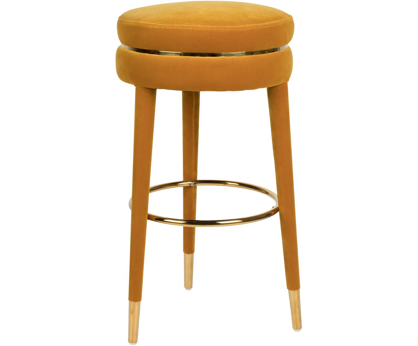 Samt-Barhocker I Am Not A Macaron, Bezug: Polyestersamt 30.000 Sche, Gestell: Gummibaumholz mit Samtübe, Ockergelb, Ø 41 x H 78 cm