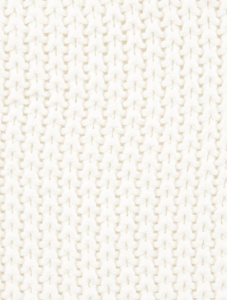 Strick-Kissenhülle Molly mit Pompoms, Baumwolle, Cremeweiss, 40 x 40 cm