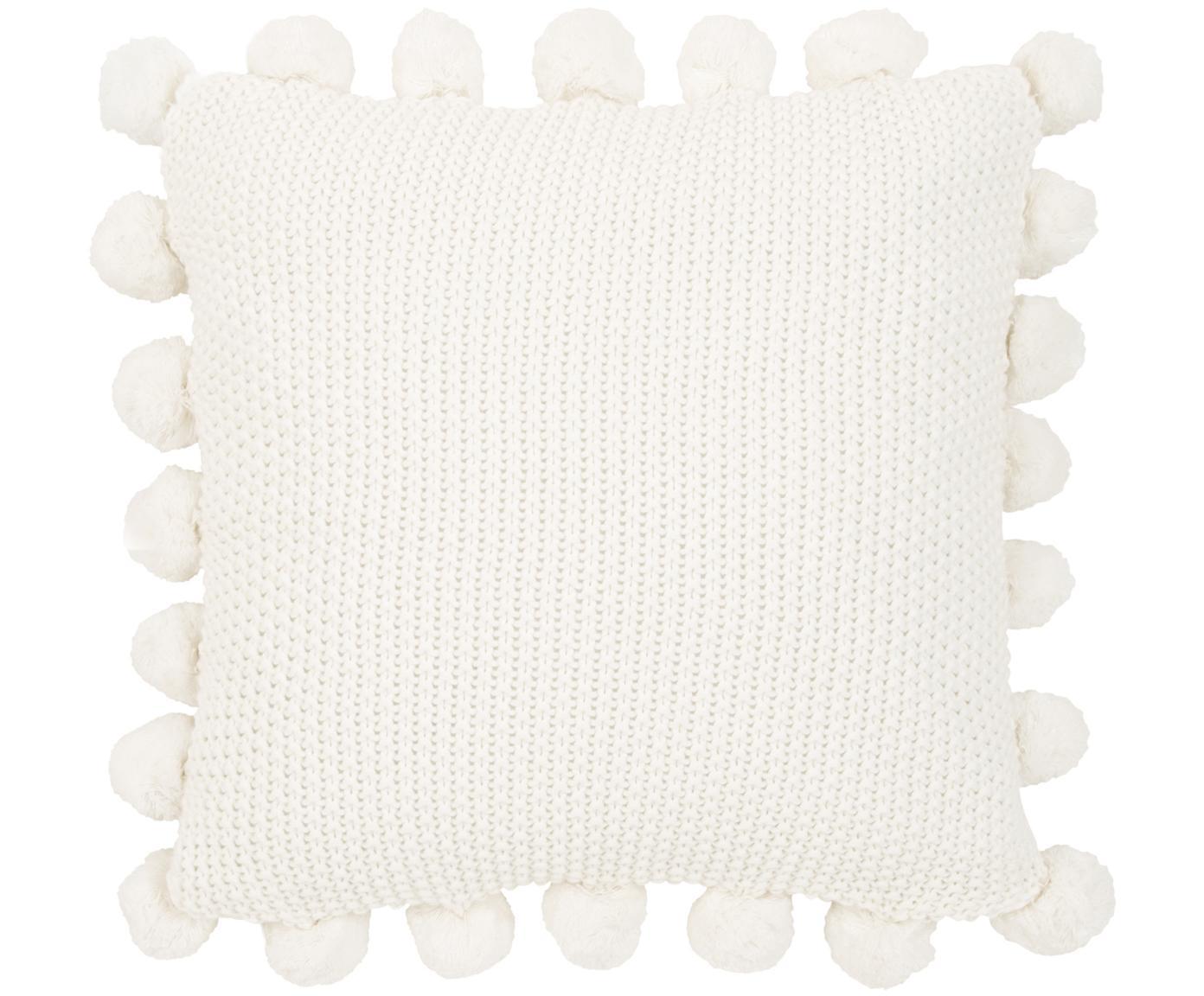 Poszewka na poduszkę ze skóry z dzianiny Molly, 100% bawełna, Kremowobiały, S 40 x D 40 cm
