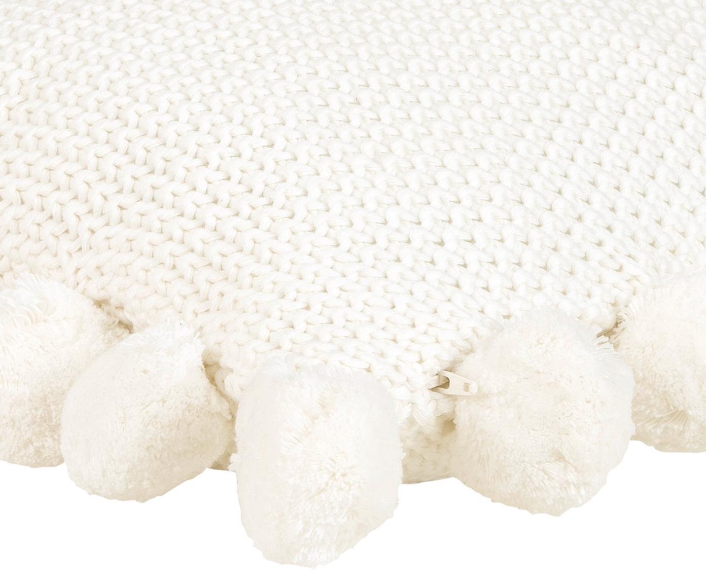 Strick-Kissenhülle Molly mit Pompoms, Baumwolle, Cremeweiß, 40 x 40 cm