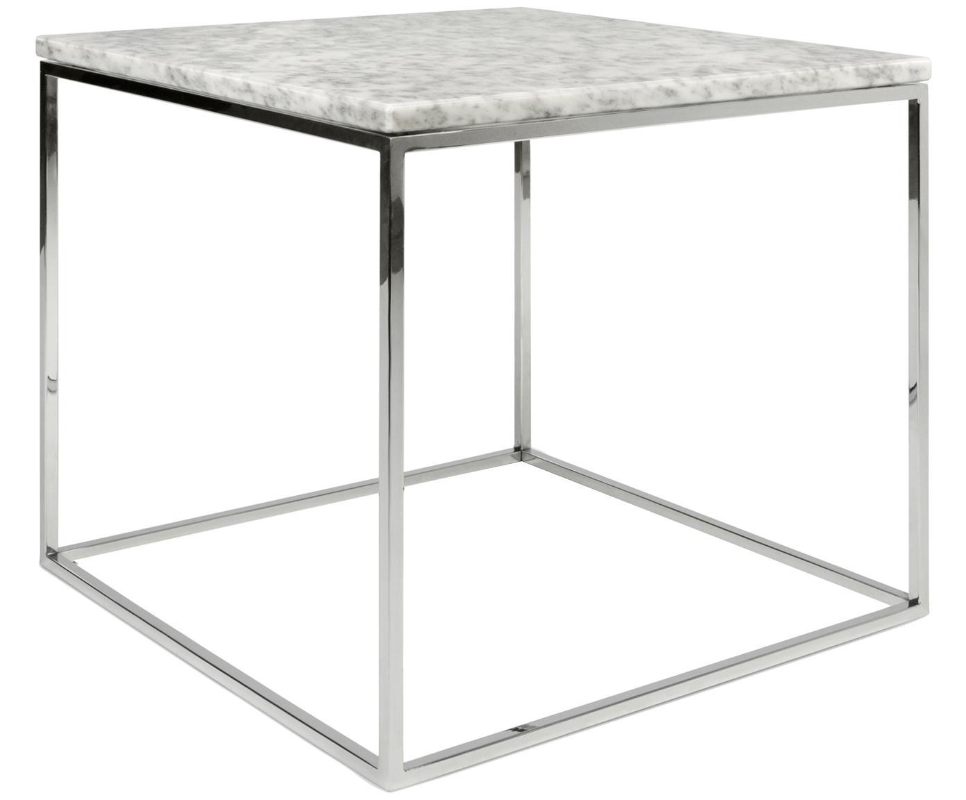 Marmeren bijzettafel Gleam, Tafelblad: marmer, Frame: verchroomd staal, Tafelblad: gemarmerd wit. Frame: chroomkleurig, 50 x 45 cm