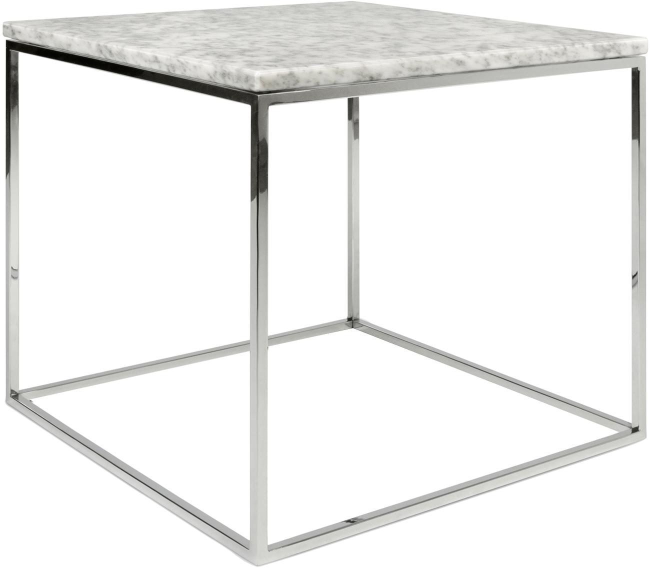 Marmor-Beistelltisch Gleam, Tischplatte: Marmor, Gestell: Stahl, verchromt, Tischplatte: Weiß, marmoriert<br>Gestell: Chrom, 50 x 45 cm