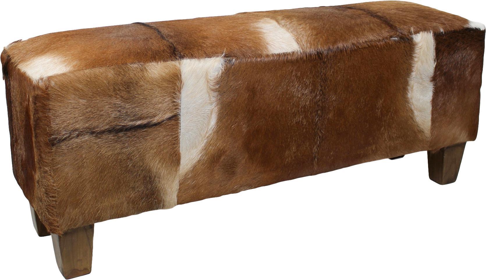 Sitzbank Bangku mit Ziegenfell, Bezug: Ziegenfell, Bezug: Ziegenfell, Braun und Weiss<br>Füsse: Teakholz, 110 x 40 cm