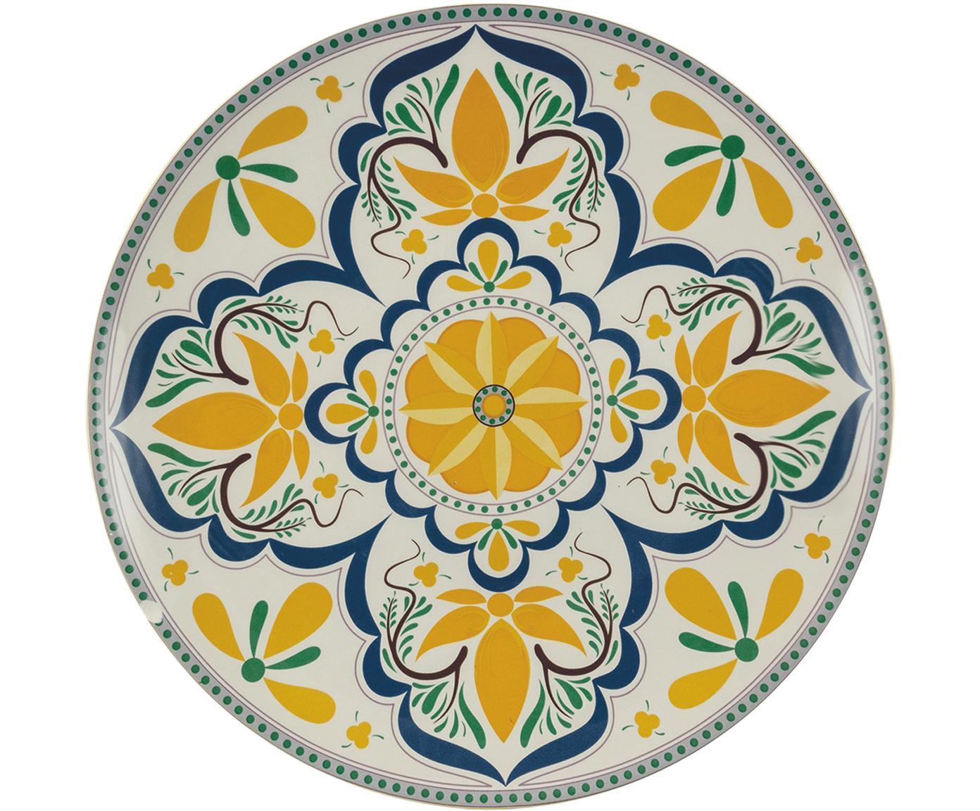 Fuente pintada a mano Sicilia, Dolomita, pintada a mano, Multicolor, Ø 34 x Al 4 cm