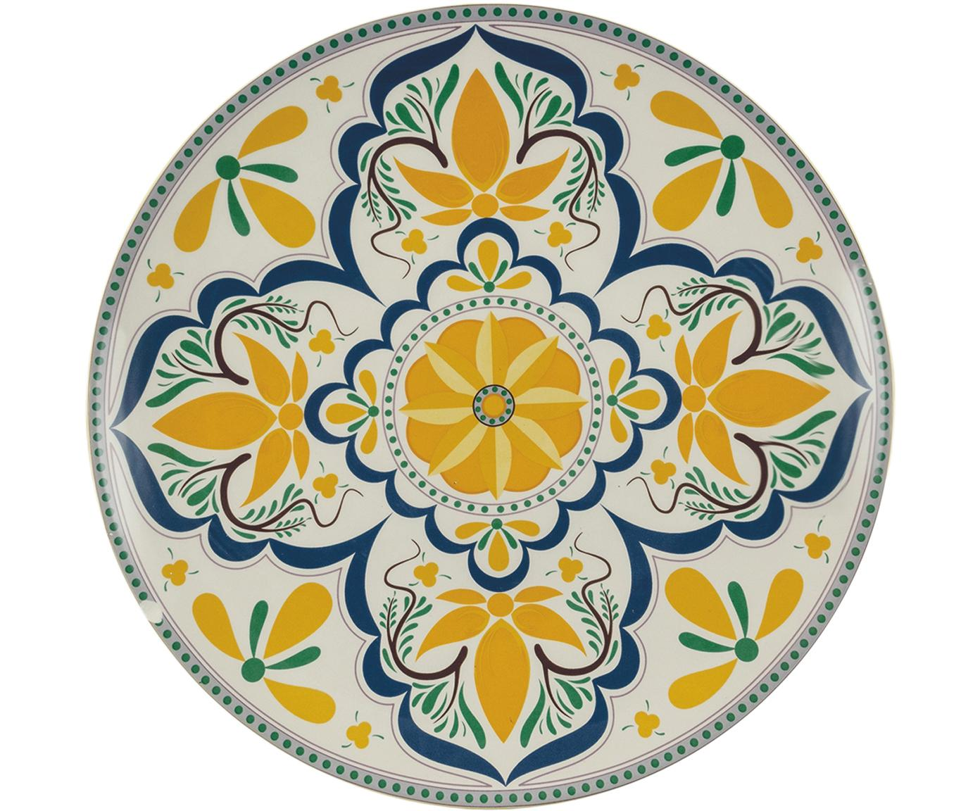 Handbemalter Servierteller Sicilia, Dolomit, handbemalt, Mehrfarbig, Ø 34 x H 4 cm