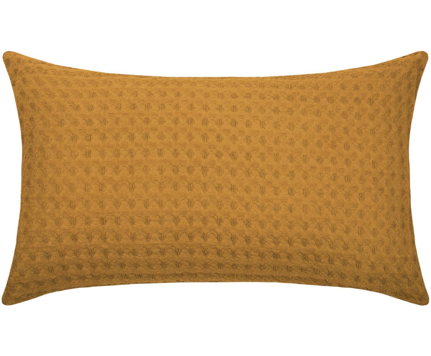 Waffelpiqué-Kissen Gopher in Senfgelb, mit Inlett, Bezug: 100% Baumwolle, Senfgelb, 30 x 50 cm