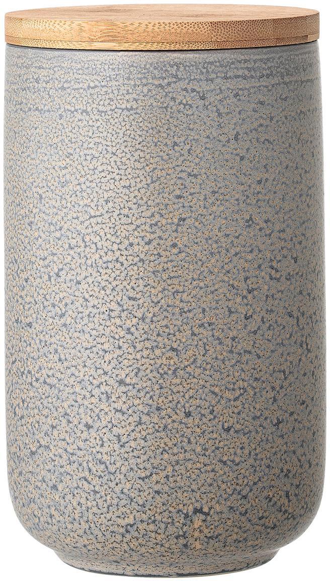 Contenitore con coperchio fatto a mano Kendra, Coperchio: bambù, silicone, Grigio, tonalità beige, Ø 12 x Alt. 21 cm