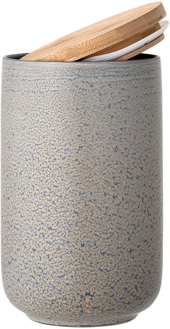 Handgemachte Aufbewahrungsdose Kendra, Deckel: Bambus, Silikon, Grau, Beigetöne, Ø 12 x H 21 cm