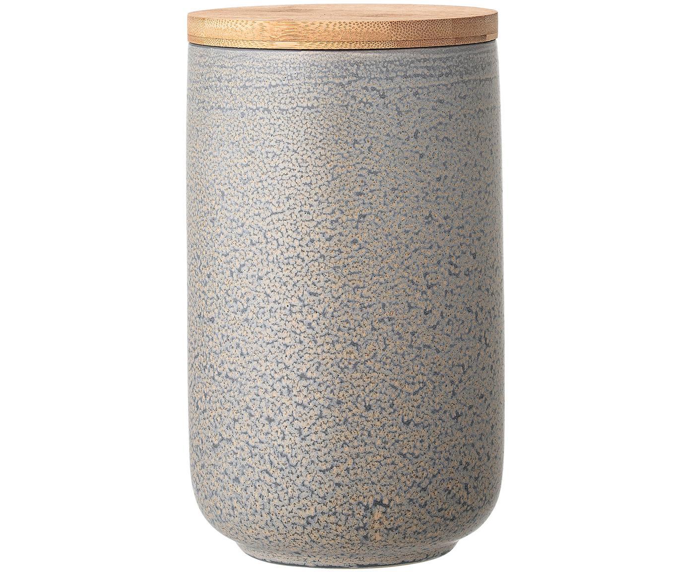 Handgemaakte opbergpot Kendra, Deksel: bamboehout, silicone, Grijs, beigetinten, Ø 12 x H 21 cm