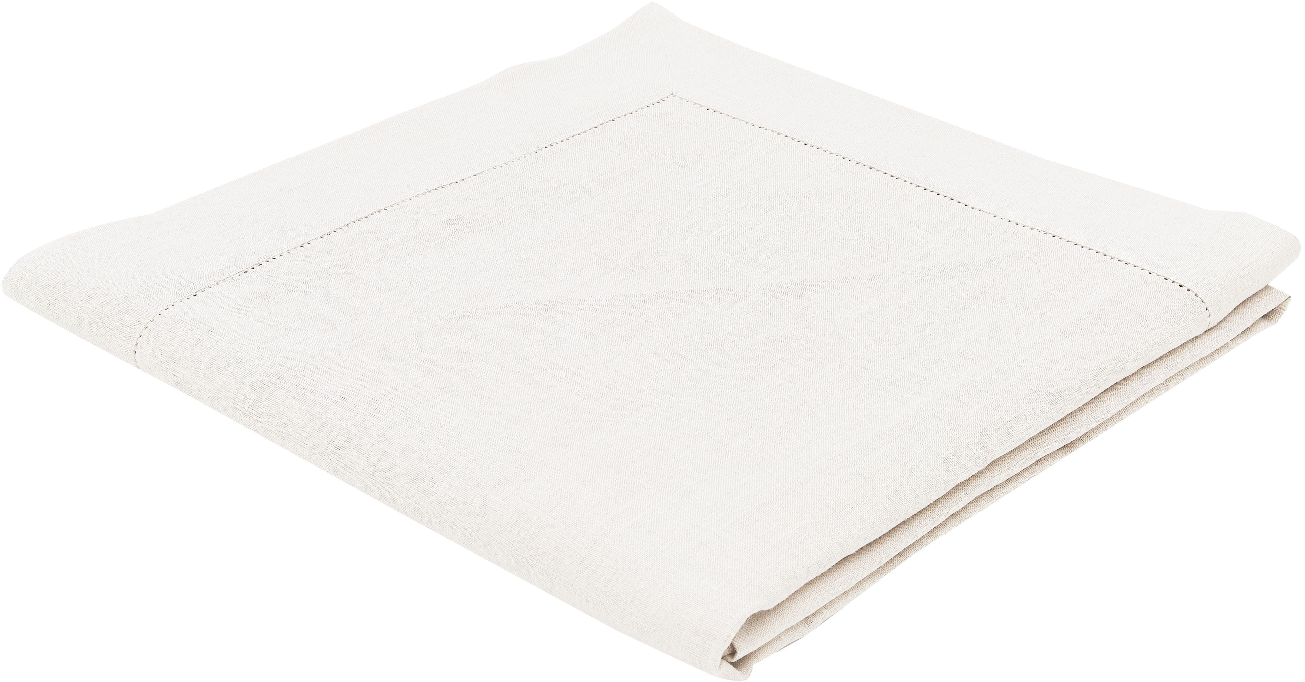 Leinen-Tischdecke Alanta mit Hohlsaum, Cremeweiß, Für 6 - 8 Personen (B 160 x L 250 cm)