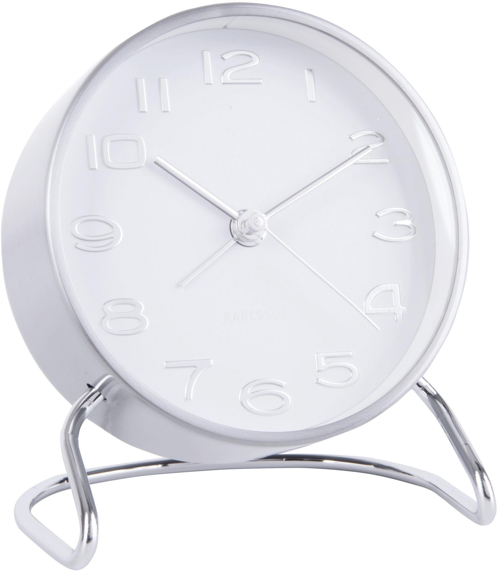 Wekker Classical, Gecoat metaal, Chroomkleurig, wit, Ø 10 cm