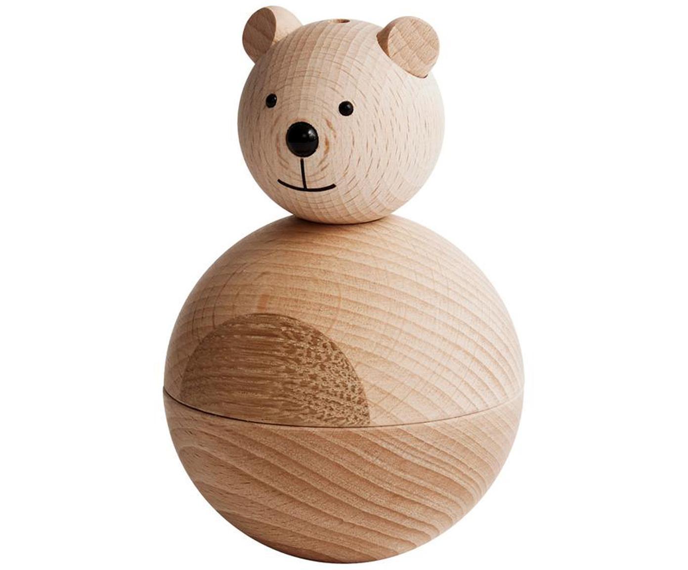 Figura decorativa Bear, Figura: madera de haya y de roble, Madera, negro, Ø 7 x Al 12 cm