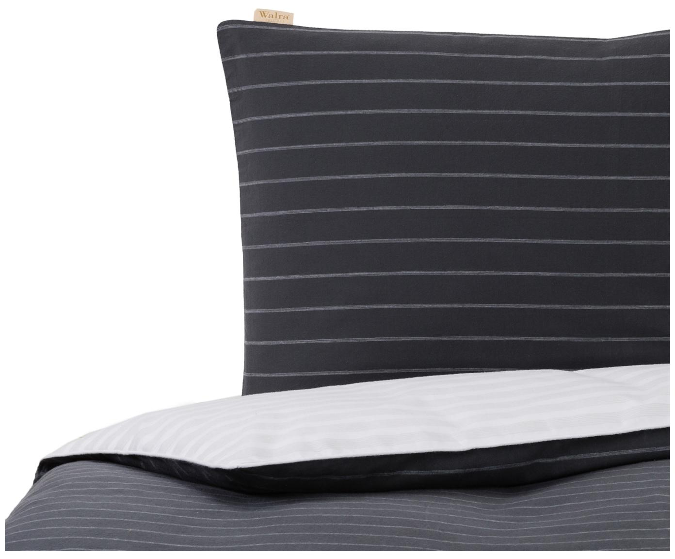 Flanell-Wendebettwäsche Refined Weaves, gestreift, Webart: Flanell Flanell ist ein s, Anthrazit, Weiß, 135 x 200 cm + 1 Kissen 80 x 80 cm