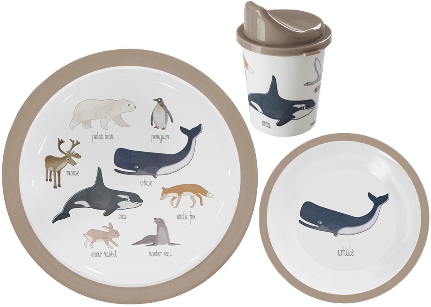 Komplet naczyń Arctic Animals, 3 elem., Melamina, tworzywo sztuczne, Wielobarwny, Komplet z różnymi rozmiarami
