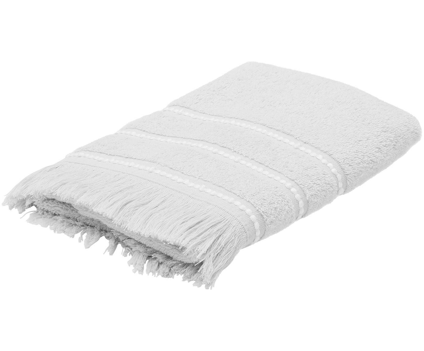Handtuch Britta mit bestickter Bordüre, Grau/Weiss, Handtuch
