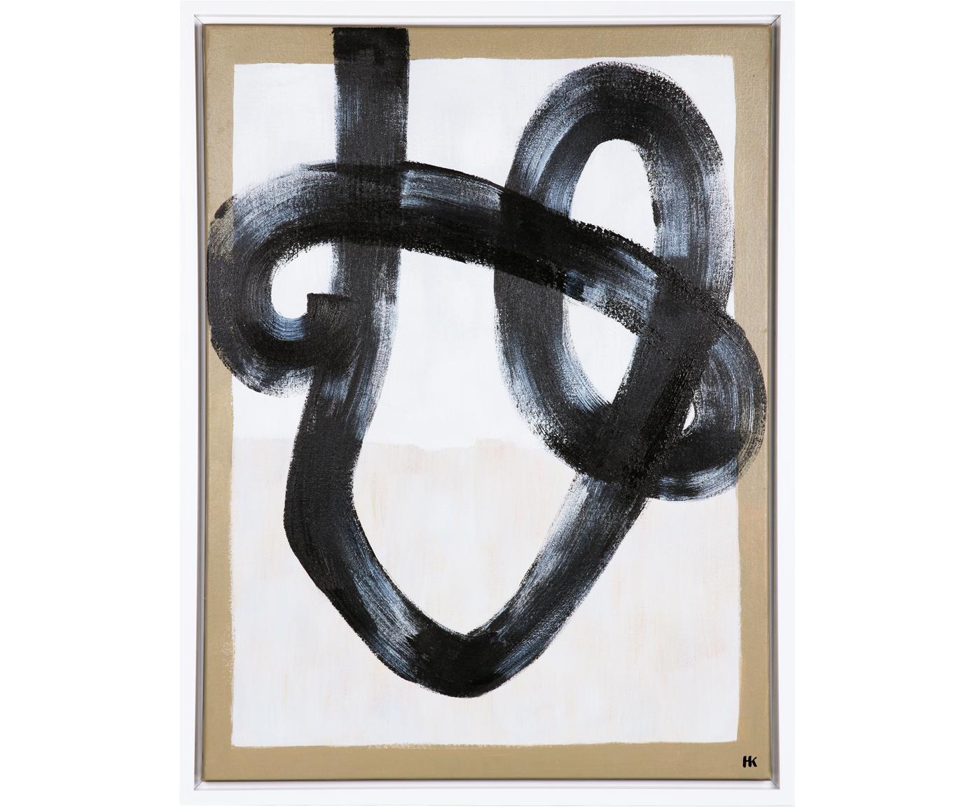 Ingelijste canvasdoek Brush, Hout, textiel, polyurethaan, acryl, Zwart, wit, 60 x 80 cm
