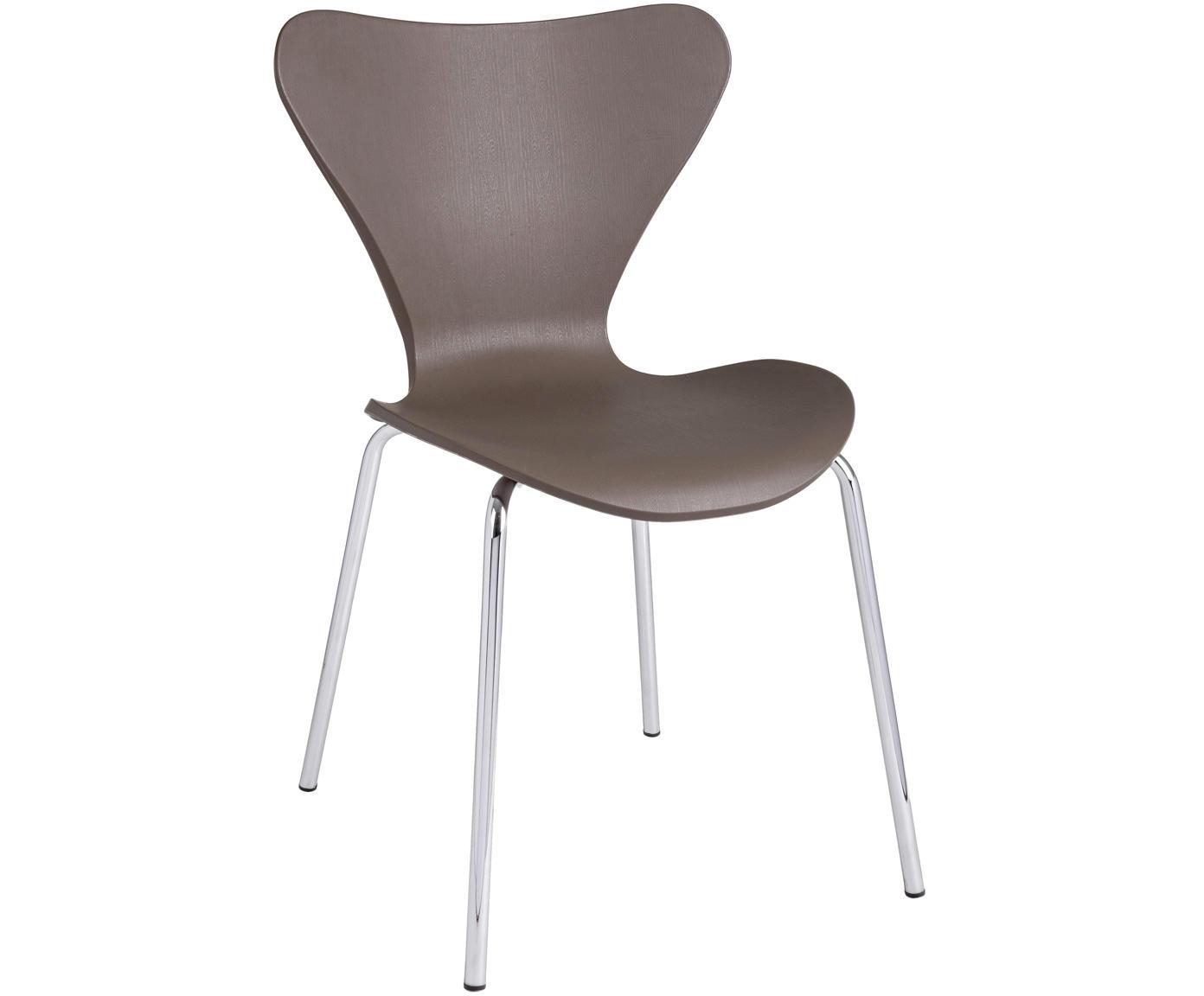 Krzesło z tworzywa sztucznego do układania w stos Tessa, 2szt., Nogi: metal chromowany, Kamelowy, chrom, S 50 x G 50 cm