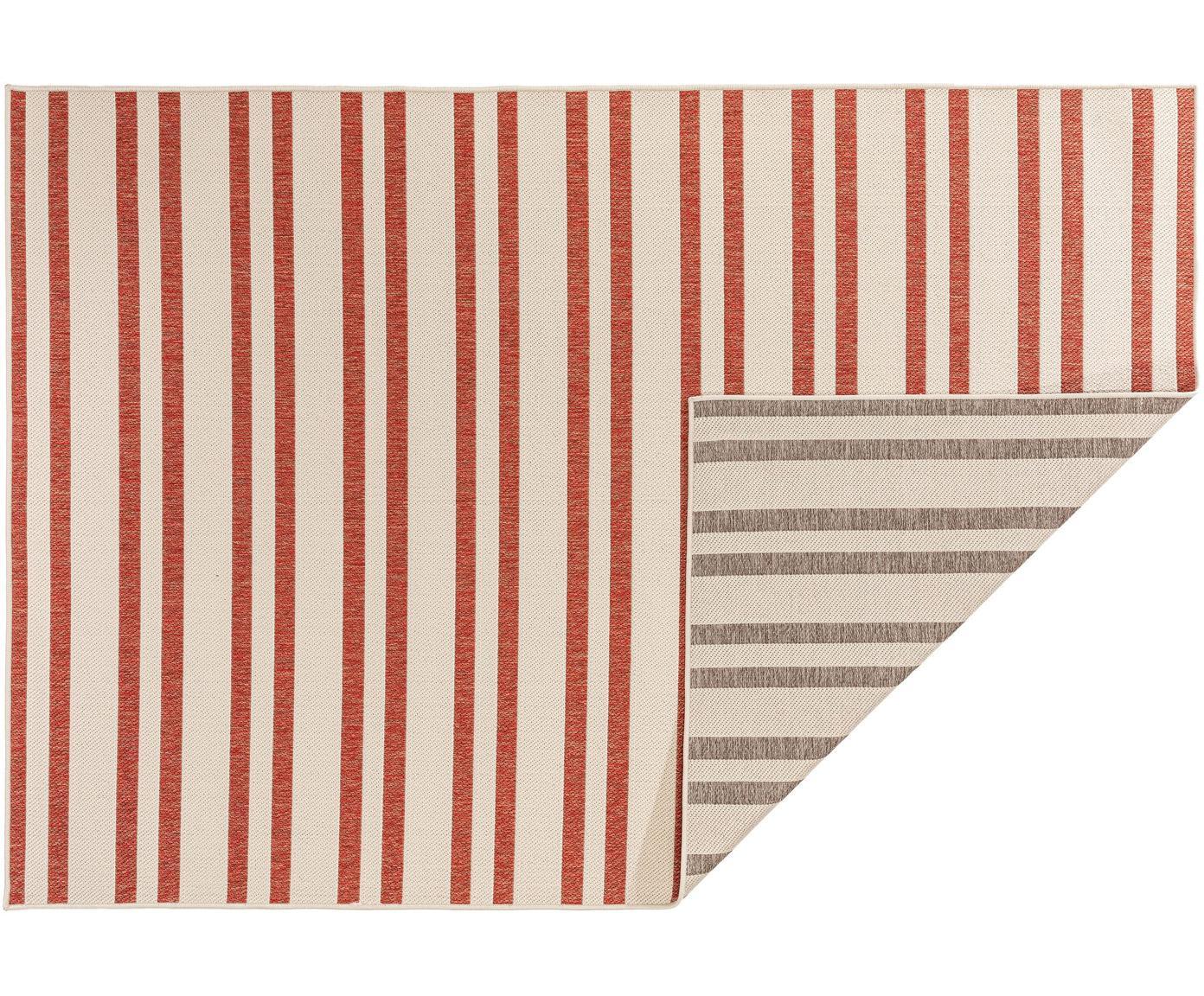 Gestreept in- & outdoor vloerkleed Terrazzo, Polypropyleen, Beige, rood, B 120 x L 180 cm (maat S)