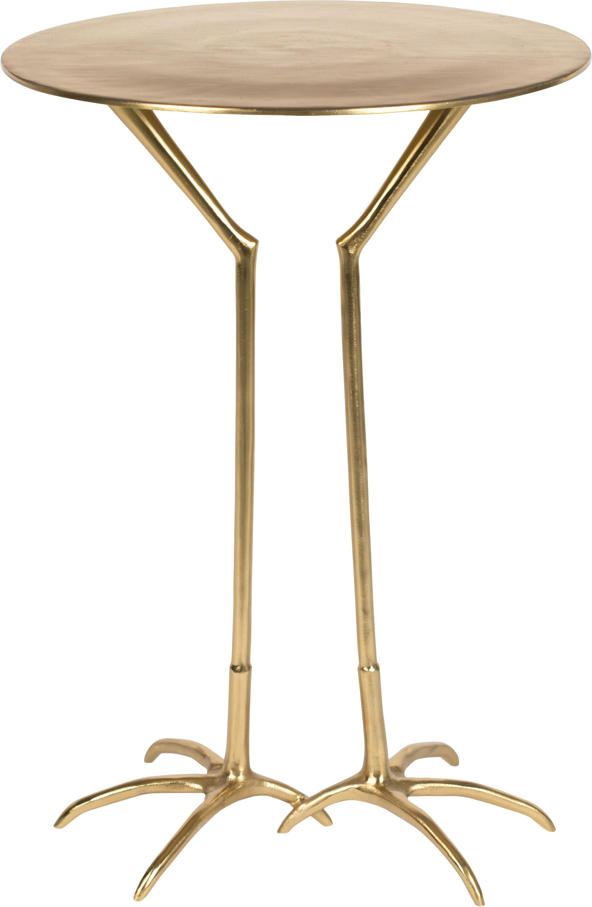 Goldfarbener Beistelltisch Theen Heron, Aluminium, lackiert, Messingfarben, Ø 45 x H 55 cm